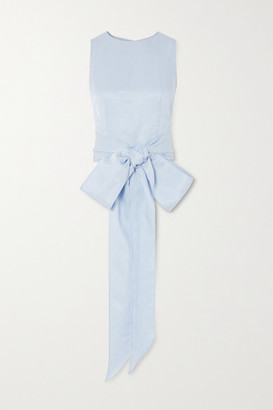 BONDI BORN Tie-front Woven Top - Light blue