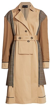 Proenza Schouler Mixed Glen Plaid Belted Trench Coat