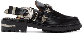 Toga Pulla Black Leather Mule Loafers
