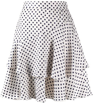 ALEXACHUNG Aerial Dot Ruffled skirt