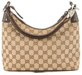 Gucci Brown Leather GG Monogram Canvas Shoulder Bag