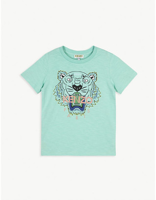 Kenzo Tiger logo-print cotton T-shirt 4-14 years