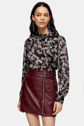 Topshop Black Floral Printed Pussybow Blouse