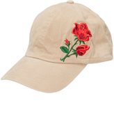 David & Young Cream Floral Embroidered Baseball Cap