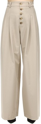 J.W.Anderson Baggy Cotton Canvas Trousers W/ Pleats