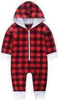 LUNIWEI Baby Boys Girls Plaid Print Zipper Long Sleeve Romper Outfits