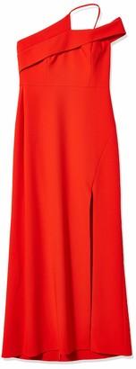 BCBGMAXAZRIA Women's Asymmetrical Neck Long Evening Dress