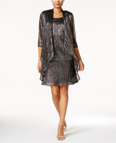 R & M Richards Petite Embellished Metallic Dress and Duster Jacket