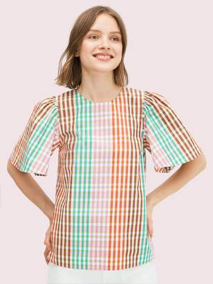 Kate Spade Rainbow Plaid Top
