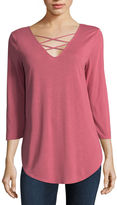 A.N.A a.n.a Ana 3/4 Sleeve Lace Up Tee 3/4 Sleeve V Neck T-Shirt-Womens
