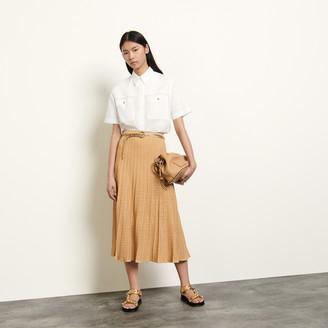 Sandro Long patterned pointelle skirt