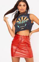 PrettyLittleThing Red Biker Belted Mini Skirt