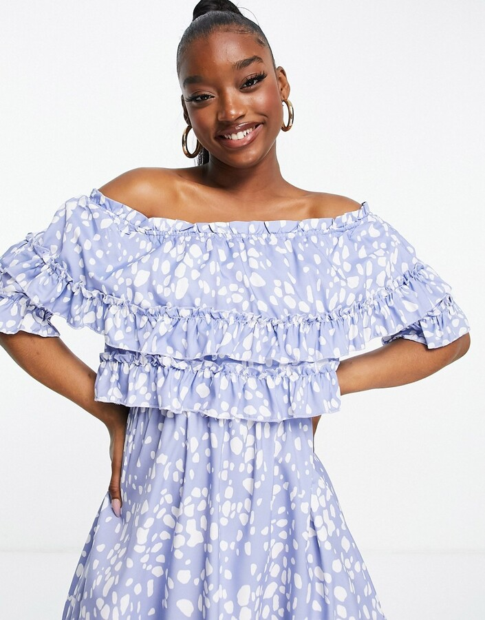 Thumbnail for your product : Parisian off shoulder frill overlay mini dress in blue