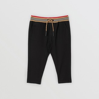 Burberry Childrens Icon Stripe Detail Cotton Twill Drawcord Trousers