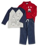 Nannette Baby Boy's Monster Sportshirt, Graphic Top and Jeans Set