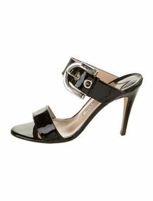 Manolo Blahnik Patent Leather Slides Black