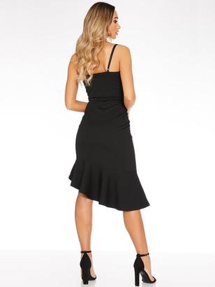 Quiz Marcella Strappy Wrap Asymmetrical Frill Midi Dress - Black
