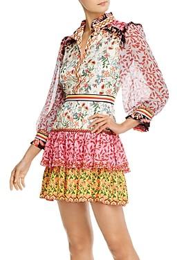 Alice + Olivia Kathy Ruffled Mini Sheath Dress