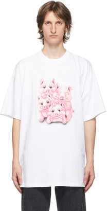 Vetements White Naughty Pigs T-Shirt