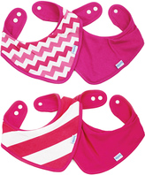 Bumkins Pink Chevron & Stripe Bandana Bib - Set of Four