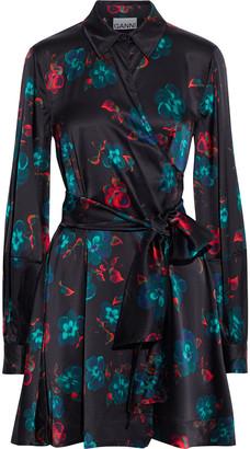 Ganni Floral-print Silk-blend Satin Mini Wrap Dress