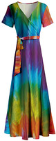 Lily Women's Maxi Dresses RED - Rainbow Tie-Dye Wrap Maxi Dress - Women & Plus