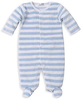 Kissy Kissy Baby Boy's Striped Velour Footie