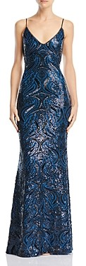 Avery G Open-Back Sequined Gown
