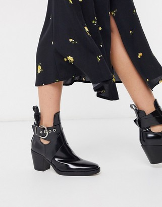 New Look cut out heeled boots in black