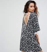 Reclaimed Vintage Inspired Open Back Dress With Tassel Sleeves