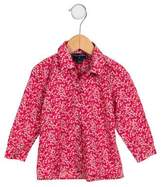 Oscar de la Renta Girls' Floral Print Button-Up Top