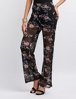 Charlotte Russe Floral Mesh Palazzo Pants