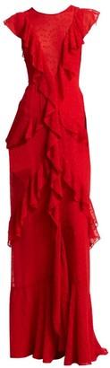 ML Monique Lhuillier Embroidered Cap-Sleeve Floor-Length Dress