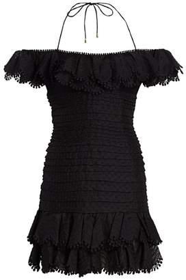 Zimmermann Super 8 Plisse Lace Eyelet Cold-Shoulder Silk & Linen Mini Dress