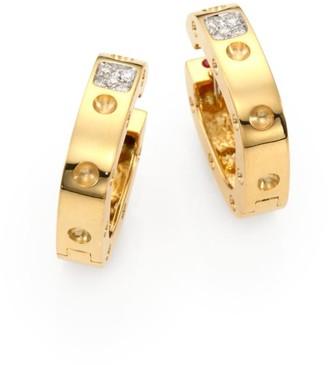 "Roberto Coin Pois Moi Diamond & 18K Yellow Gold Hoop Earrings/0.75"""