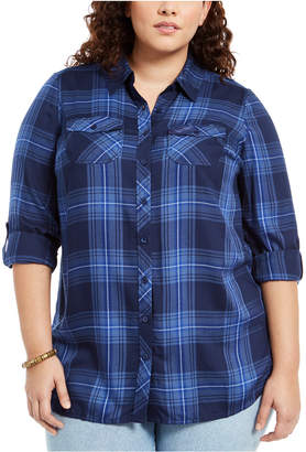 Style&Co. Style & Co Plus Size Plaid Utility Shirt