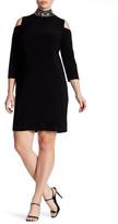 Marina Cold Shoulder Jeweled Neck Dress (Plus Size)