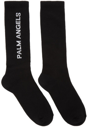 Palm Angels Black Vertical Logo Socks