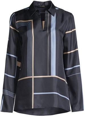 Lafayette 148 New York Nellie Geometric-Print Silk Shirt