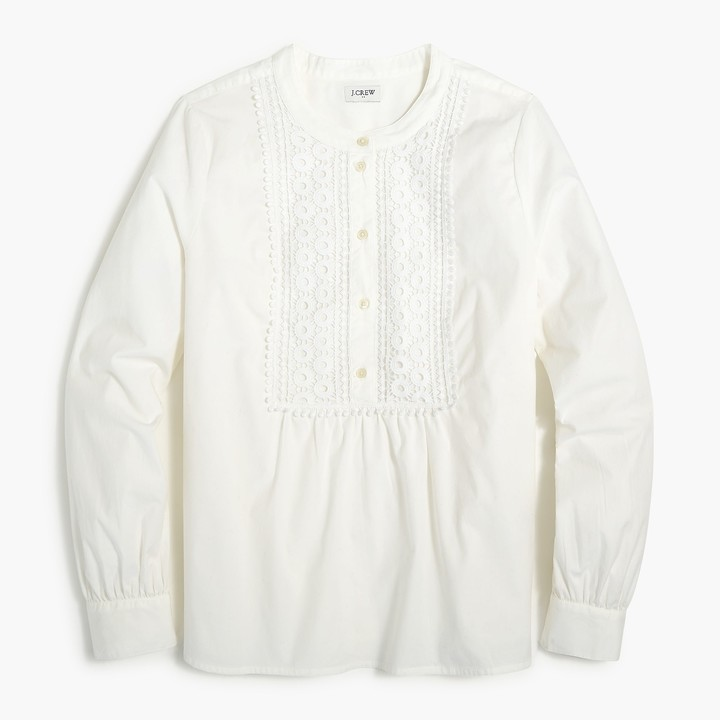 Thumbnail for your product : J.Crew Shirt with embroidered lace bib