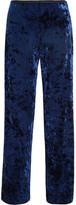 Tibi Stretch-velvet Wide-leg Pants - Navy