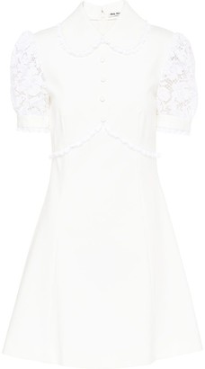 Miu Miu Ruffled Lace-Panel Mini Dress