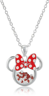 Disney Silver Plated Minnie Mouse Silhouette Shaker Pendant Necklace