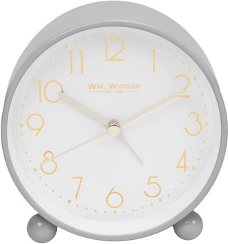 Grey Metal Alarm Clock with Gold Dial