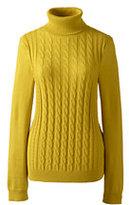 Lands' End Women's Petite Cotton Cable Turtleneck Sweater-Bright Scarlet