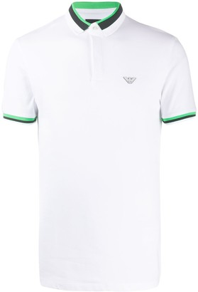 Emporio Armani Striped-Trim Logo Polo Shirt