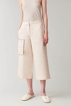 Cos Cotton-Linen Detachable-Pocket Culottes
