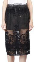 Sacai Tribal Lace Drawstring Pencil Skirt