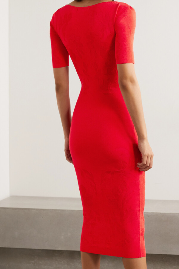 Thumbnail for your product : Cushnie Floral-jacquard Midi Dress - Red