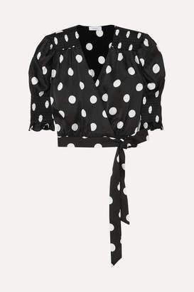 Art Dealer - Eva Smocked Wrap-effect Polka-dot Satin Wrap Top - Black